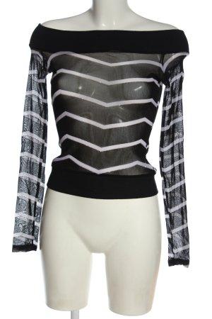 Apart Manica lunga nero-bianco motivo a righe stile casual
