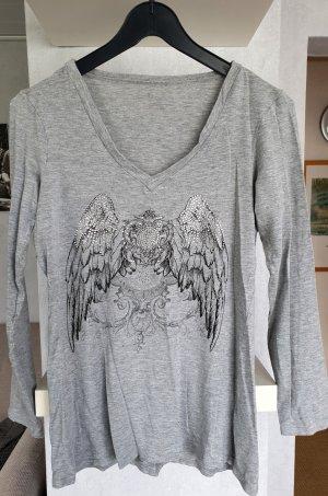 APART Longsleeve Shirt Langarmshirt Hellgrau meliert mit Glam Print 36