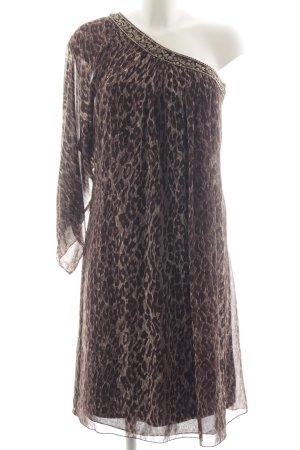 Apart One-Shoulder-Kleid hellbraun-dunkelbraun Leomuster Elegant