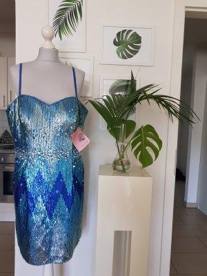 Apart Cekinowa sukienka niebieski neonowy-turkusowy