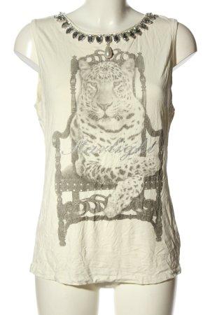 Apart Print-Shirt creme-hellgrau Motivdruck Casual-Look