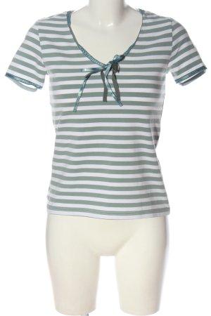 Apart Camisa de rayas blanco-caqui estampado repetido sobre toda la superficie