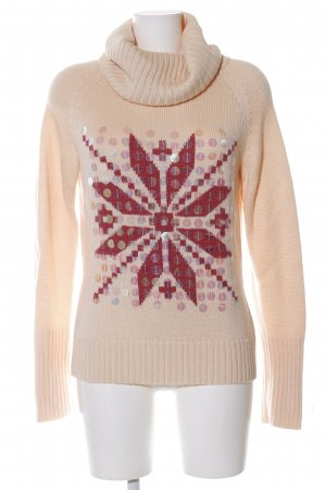 Apart Rollkragenpullover creme-rot grafisches Muster Casual-Look