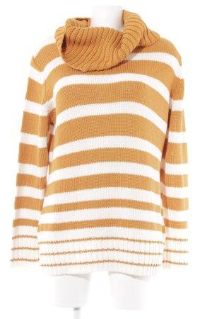 Apart Rollkragenpullover orange-weiß Streifenmuster Casual-Look