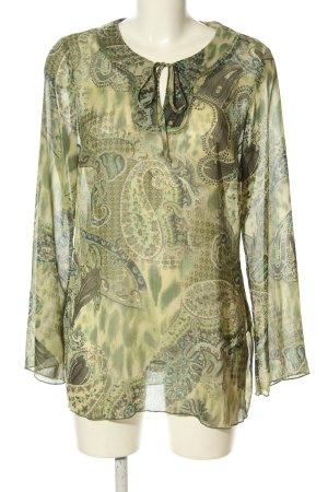 Apart Schlupf-Bluse khaki-blassgelb abstraktes Muster Casual-Look