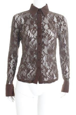 Apart Blusa de encaje marrón look casual