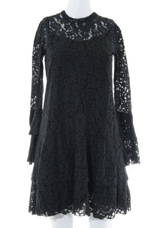 Apart Kanten jurk zwart elegant