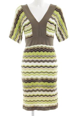 Apart Strickkleid grün-khaki abstraktes Muster Casual-Look