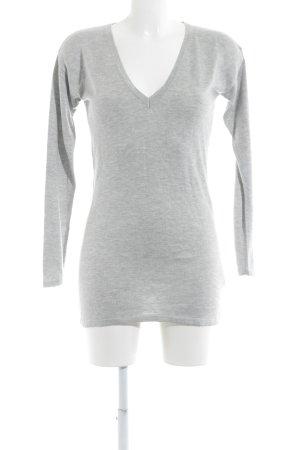 Apart V-Ausschnitt-Pullover hellgrau Casual-Look