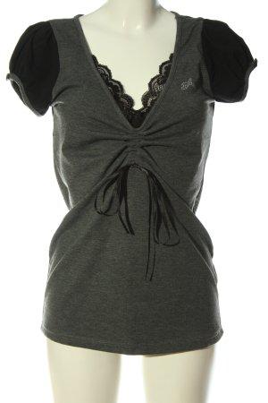 Apart Camisa con cuello V gris claro-negro moteado look casual