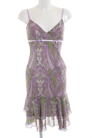 Apart Robe à volants violet-kaki motif abstrait style décontracté
