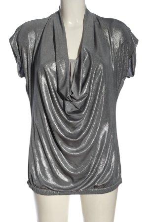 Apart Camisa con cuello caído color plata estilo extravagante