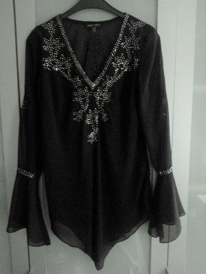 Apart zart durchscheinende schwarze Tunika Bluse