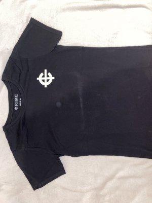 Crime Camisa holgada negro-blanco puro