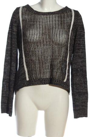 Aphorism Crochet Sweater light grey flecked casual look