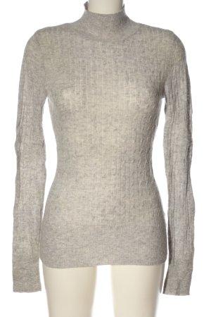 Aphorism Turtleneck Sweater light grey-nude cable stitch casual look