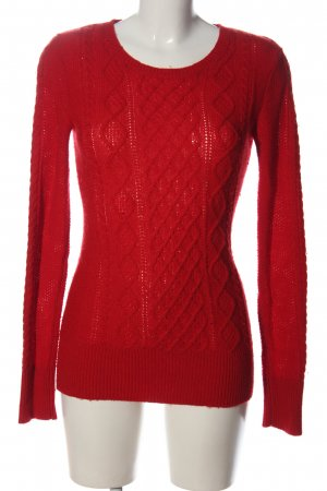 Aphorism Crewneck Sweater red cable stitch casual look