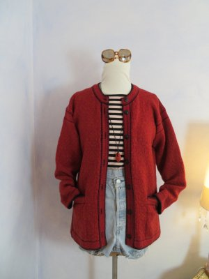 Apleks Echt Norweger Strickjacke - Chunky Rot Orange Schwarz Jacquard Long Cardigan - Gr. 38 - 100% Wolle Sweater - Fair Isle Jacke