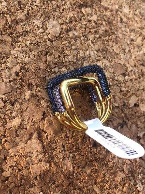 apm Monaco Zdobiony pierścionek złoto-ciemnoniebieski