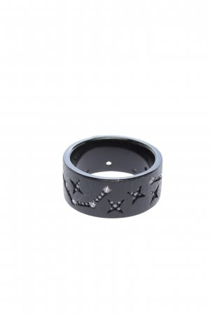 apm Monaco Ring with Decorative Stone black abstract pattern casual look