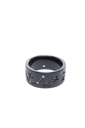 apm Monaco Ring mit Zierstein schwarz abstraktes Muster Casual-Look