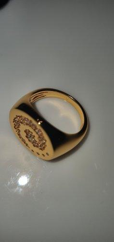 apm Monaco Srebrny pierścionek złotopomarańczowy