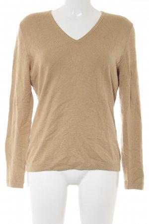 Appelrath-Cüpper V-Neck Sweater sand brown loosely knitted pattern casual look
