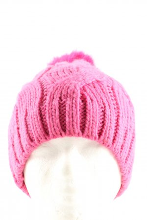 appetizer Bobble Hat pink cable stitch casual look