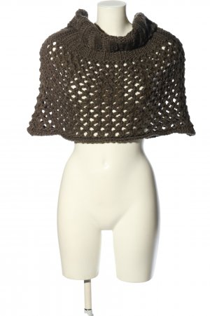 appetizer Knitted Poncho khaki weave pattern casual look