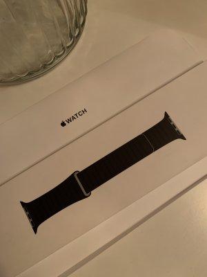 Apple Montre avec bracelet en cuir gris anthracite-noir cuir