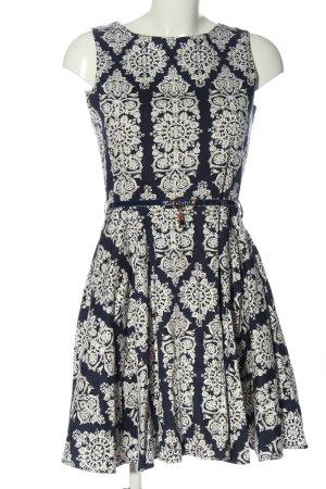 Apricot A-Linien Kleid blau-weiß Allover-Druck Elegant