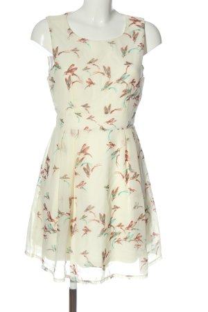 Apricot A-Linien Kleid weiß Motivdruck Elegant