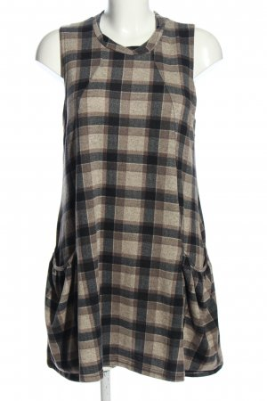 Apricot A-lijn jurk bruin-blauw geruite print casual uitstraling