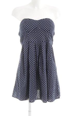 Apricot Bandeau Dress white-dark blue spot pattern party style