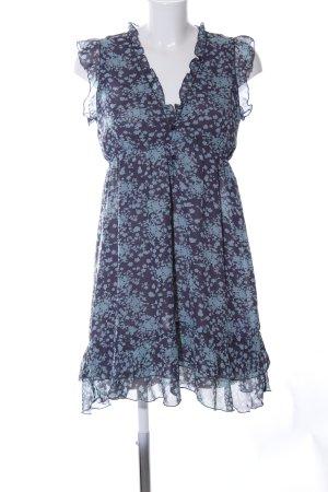 Apricot Chiffon Dress blue-turquoise allover print elegant