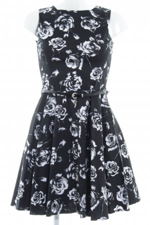 Apricot Cocktail Dress black-white flower pattern party style