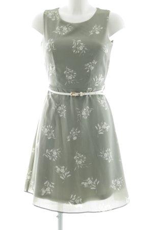 Apricot Sheath Dress khaki-white flower pattern elegant