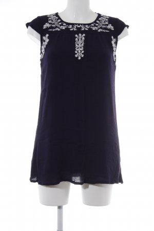 Apricot Short Sleeved Blouse dark blue-white flower pattern casual look