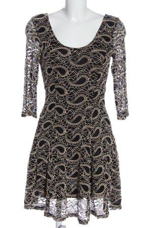 Apricot Spitzenkleid schwarz-creme grafisches Muster Casual-Look