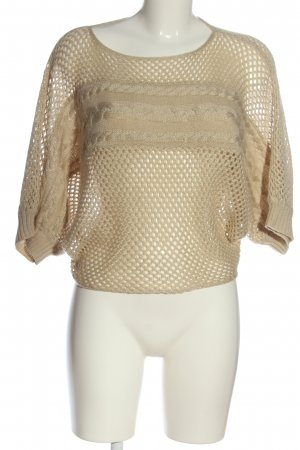 Apricot Short Sleeve Sweater natural white cable stitch casual look