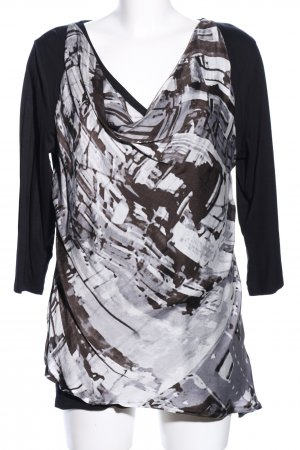Apricot Long Sleeve Blouse black-light grey abstract pattern casual look