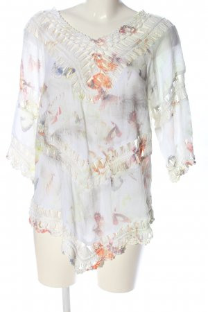 Apricot Langarm-Bluse abstraktes Muster Casual-Look