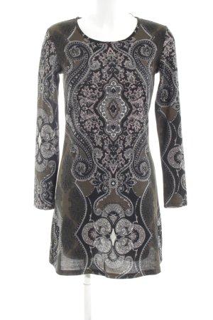 Apricot Robe à manches longues brun-noir motif abstrait style décontracté