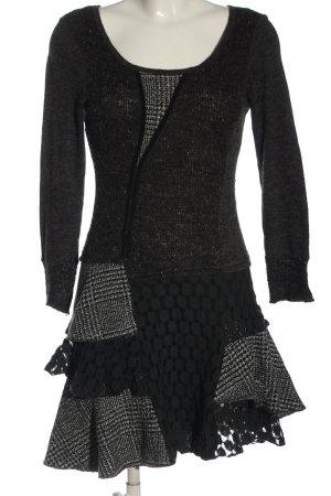 Apricot Longsleeve Dress black-light grey check pattern casual look