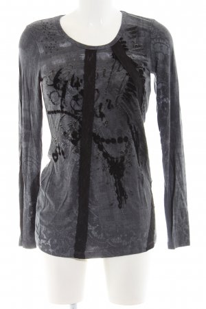 Apricot Longsleeve light grey-black abstract pattern casual look