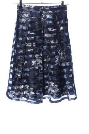 Apricot Midi Skirt blue-light grey flower pattern elegant
