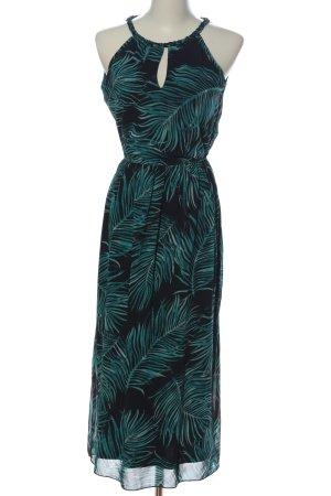 Apricot Vestido de cuello Halter negro-turquesa estampado temático look casual