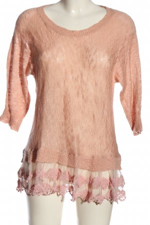 Apricot Rundhalspullover pink meliert Casual-Look