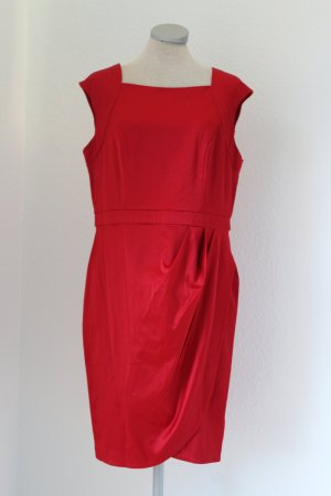 Apricot Satinkleid rot rückenfrei Rockabilly Gr. M 38 40 Etuikleid Satin Kleid gerafft
