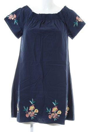 Apricot Robe épaules nues bleu motif de fleur style décontracté